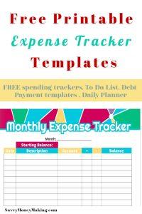 free expense printables